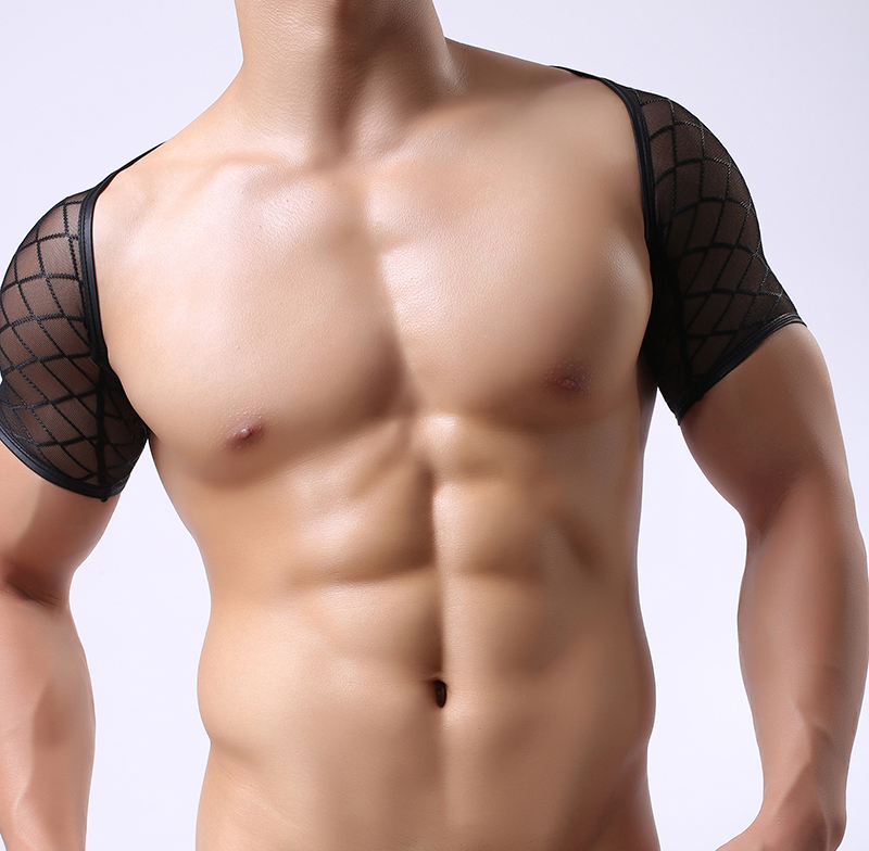 2017 Fashion Black Plaid Fishnet Cut-outs Man <font><b>Sexy</b></font> Fitness Crop Tops/<font><b>Gay</b></font> Funny Bodybuilding Grid Mesh Half T <font><b>Shirts</b></font> image