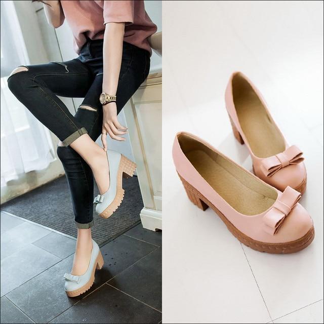40d695602 Para mujer niñas lolita uniforme de estudiante zapatos bombas princesa del  otoño zapatos arco de color