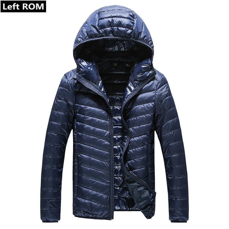 2019 New Fall Warm Thick Slim Casual Mens Hooded Down Jackets / High-grade Male White Duck Feather Down Jacket / Men Down Coat