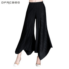 New Arrival Women Irregular Pleated Wide Leg Pants 2018 Spring Fashion Office Women Capirs Trousers Casual