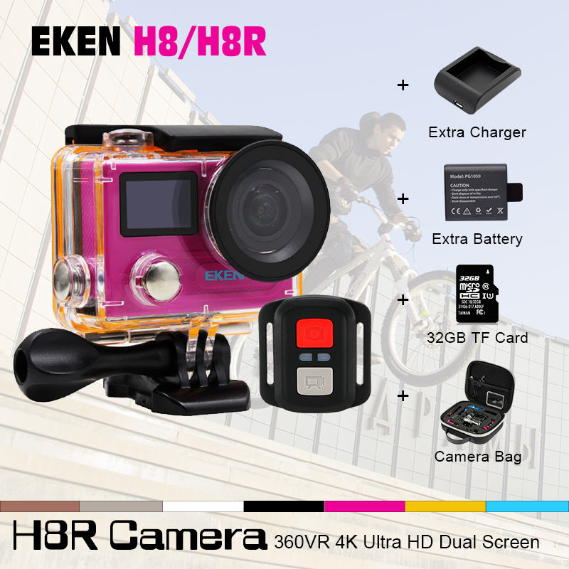 EKEN H8/H8R action camera 1080p 60fps sport cam WiFi 2.0  dual screen Ultra HD 4K wifi Remoto Control 170 degree Helmet Cam action camera ultra hd 4 k 30fps wifi sport cameres original eken h8 h8r 2 0 170d dual len underwater waterproof helmet cam