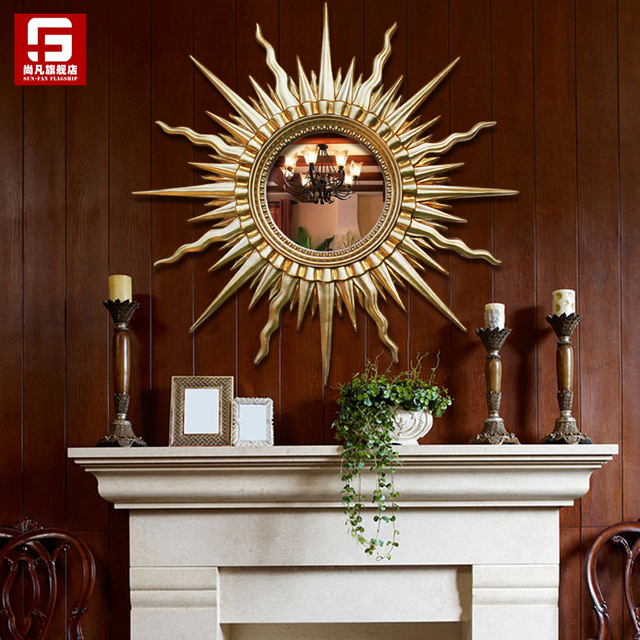 Head Arts Crafts All European Style Sun Mirror Wall Hanging Living Room Porch