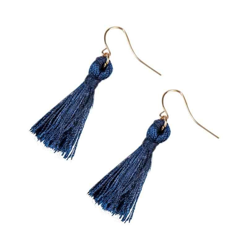 Moment # L05 2018 lo mejor en ventas borla con flequillos largos pendientes colgantes bohemios Negro Azul Marino rojo pendientes bohemios para mujer joyería nueva