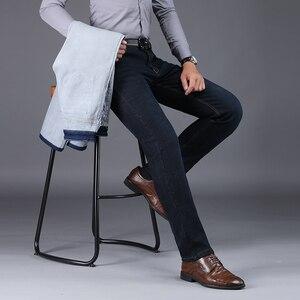 Image 1 - NIGRITY zimowe ciepłe ciepłe męskie polarowe proste dżinsy na co dzień Stretch grube Denim flanelowe miękkie spodnie spodnie klasyczne plus Size