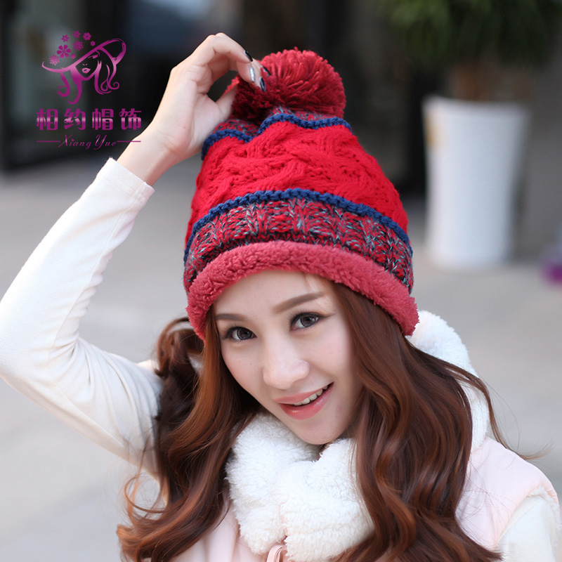 ФОТО Female Winter Knitted Thick Warm Fleece Lined Soft Nap Women Ladies Skullies Toboggans Beanies Poms Motley Color Hemming Gorros