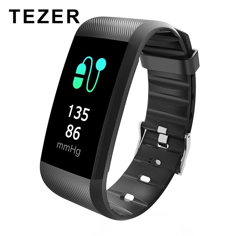 TEZER R11 bracelets intelligents moniteur de fréquence cardiaque bracelet connecté bracelet de fitness traqueur d'activité pédomètre étanche à l'eau pour Téléphone Bluetooth