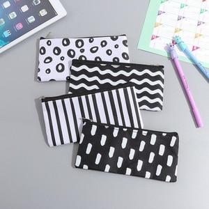Image 3 - 20pcs/lot Vintage Simple Stripes Canvas Pencil Case Cosmetic Pouch Pen Bag Office School Stationery Supplies Black&White