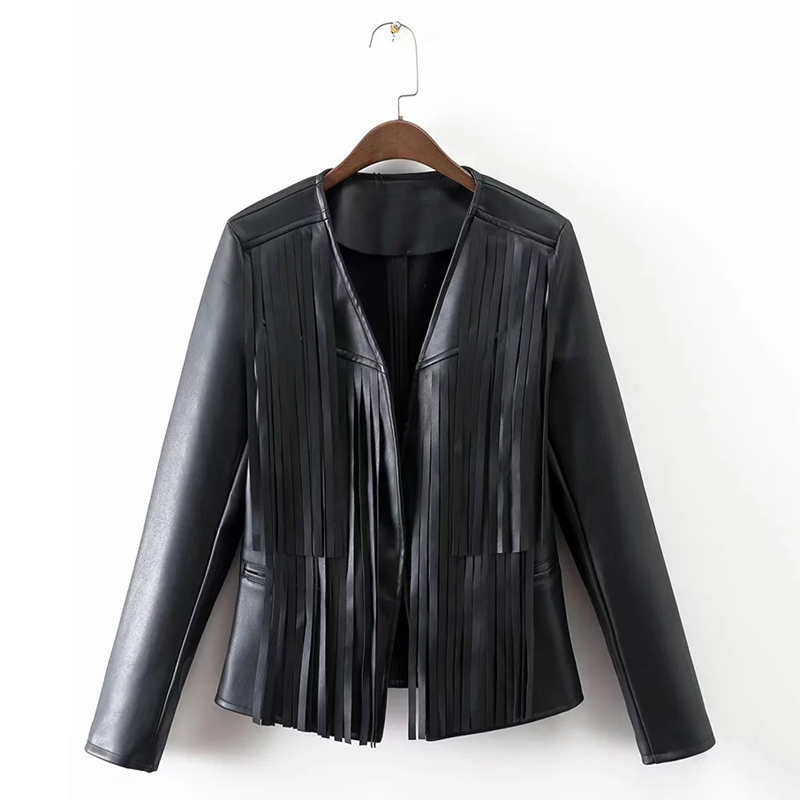 2019 Spring Autumn New Fashion Faux   Leather   Jackets Women Black Tassel Sexy V Neck Coat Girl Slim PU Casual Famale Biker Jacket