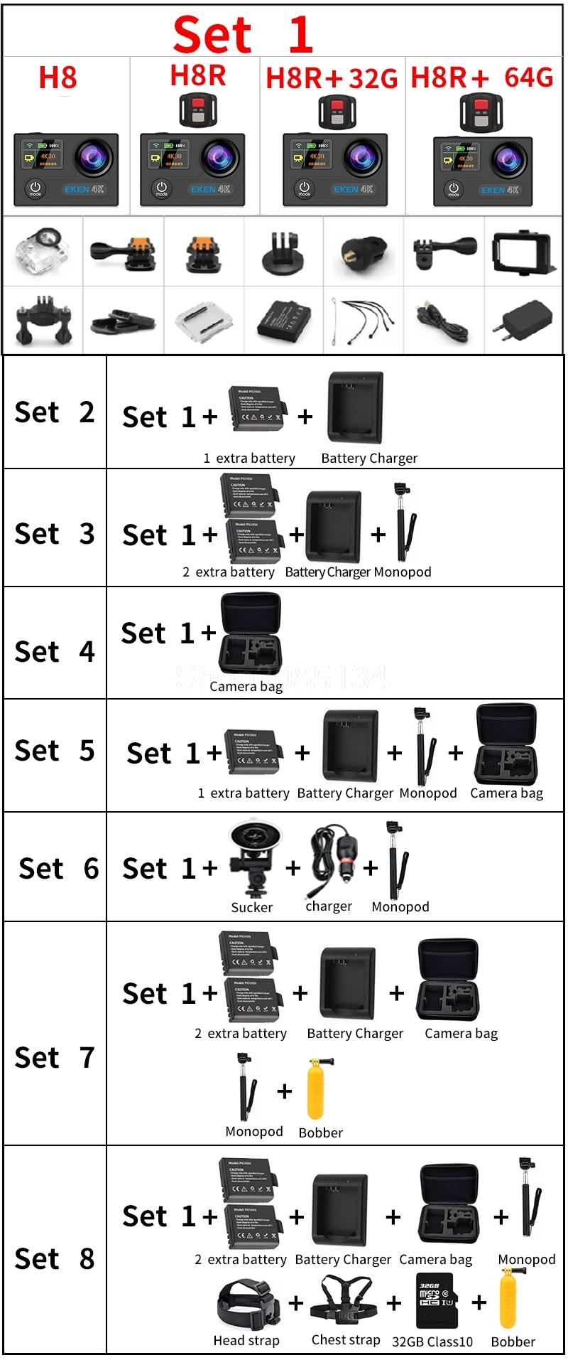 Original Eken H8 H8r Ultra Hd 4 Karat 30fps Wifi Action Kamera 30 Mt Wasserdichte 14mp Dvr Unterwasser Go Helm Extreme Pro Sport Cam Sport & Action-videokameras