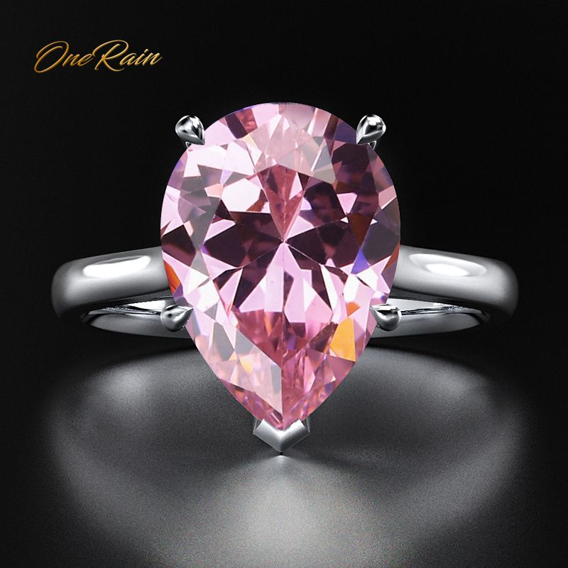 OneRain Vintage 925 Sterling Silver Water Drp Pink Sapphire Gemstone Wedding Engagement White Gold Ring Fine Jewelry Wholesale
