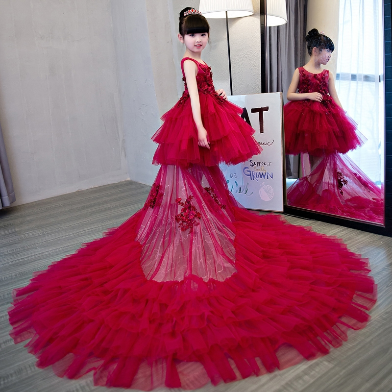2018 New Luxury Red Flower Girl Dress Con La Coda Per Bambini Pageant Dress Prima Comunione Abiti da sposa Party Dress D482018 New Luxury Red Flower Girl Dress Con La Coda Per Bambini Pageant Dress Prima Comunione Abiti da sposa Party Dress D48