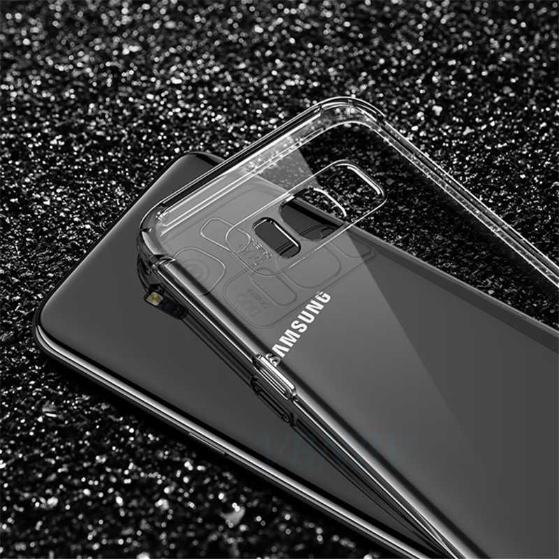 Borda à prova de choque Capa De Silicone Transparente Para Samsung Galaxy S6 S7 A3 A5 A7 J3 J5 J7 2017 S8 S9 Plus nota 8 9 A6 A8 Plus A7 2018 Tampa