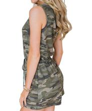 Womens summer fashion camouflage printed loose pants jumpsuit Military Lace Up high quality