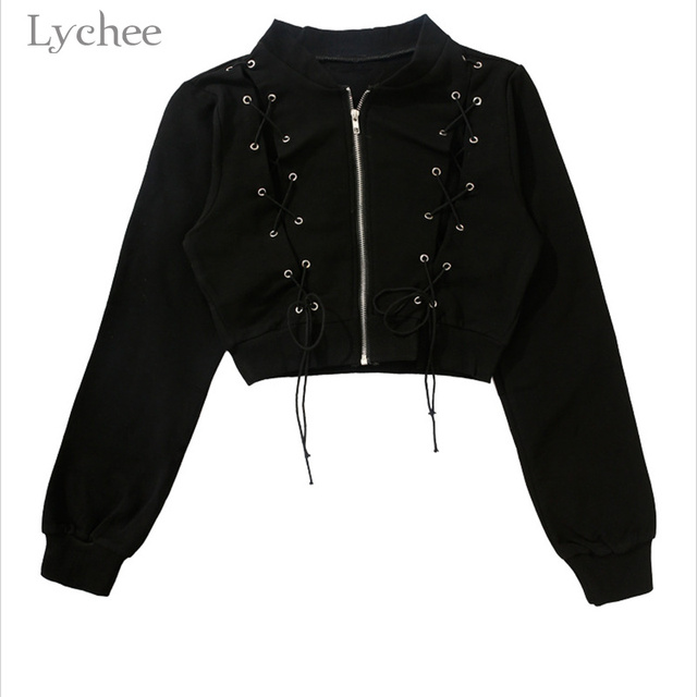 Lychee Punk Gothic Women Jacket Cross Lace Up Bandage Zipper Long Sleeve Slim Crop Top Spring Autumn Coat by Lychee
