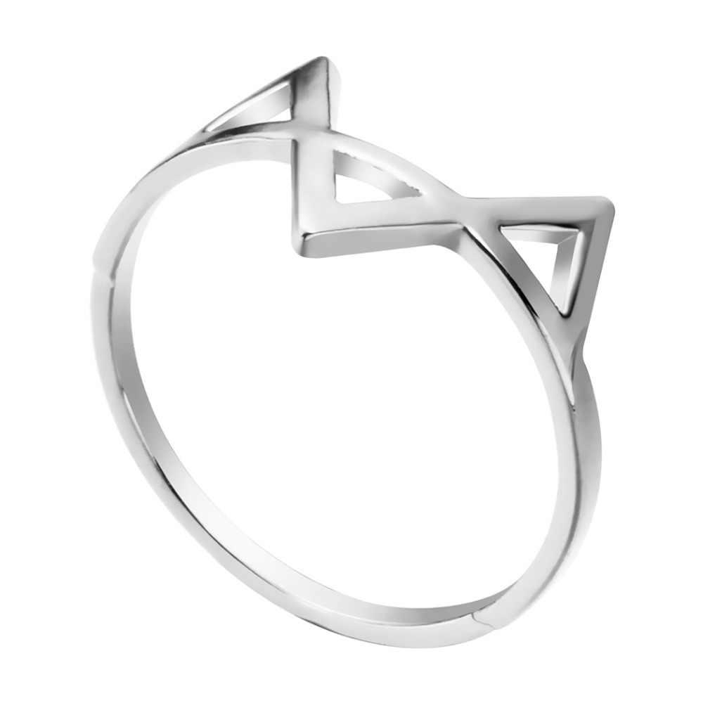 QIAMNI เรขาคณิตสามเหลี่ยมสามแหวน Dainty & Delicate เครื่องประดับของขวัญผู้หญิงเย็น Vintage แหวนแฟชั่นเครื่องประดับ