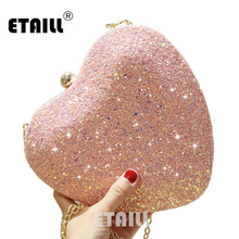 ETAILL Glitter Sparkling Full Sequins Nude Evening Bag Party Clutch Pink Blue White Heart Shape Chain Shoulder Crossbody