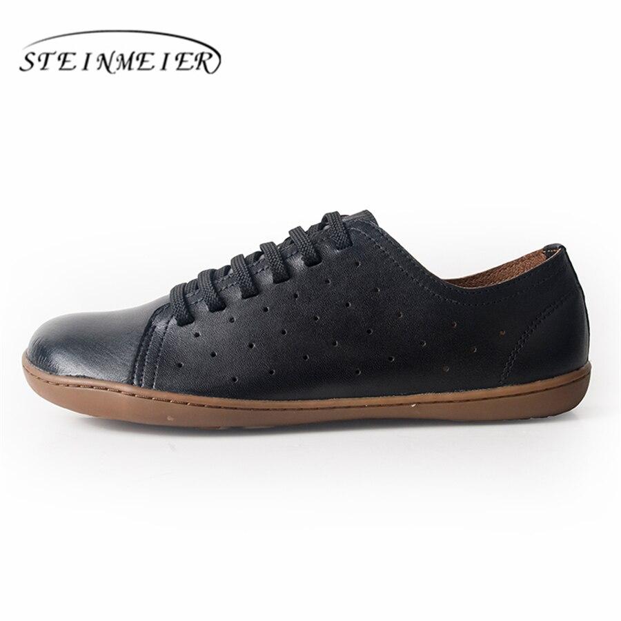 Sport 2019 Cuir Femmes Sneakers black blue De Ballerines Chaussures Véritable Plates White brown Nus White Femme Pieds En Appartements Printemps black 78Iq8x6