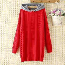 Plus size Criss-Cross hooded pullovers women sweater 2018 casual ladies solid black & red loose knitted oversize sweater female criss cross front sweater