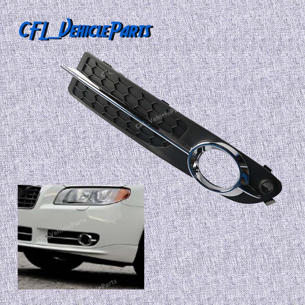 Right Bumper Fog Light Lamp Cover w// Chrome Moulding Trim For Volvo S80 V70