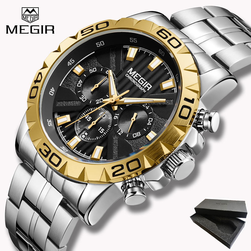 2019 New Top Brand Luxury MEGIR Watch Men Chronograph Quartz Business Mens Watches Waterproof Wrist Watch Reloj Hombre Gift box2019 New Top Brand Luxury MEGIR Watch Men Chronograph Quartz Business Mens Watches Waterproof Wrist Watch Reloj Hombre Gift box