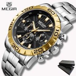 2019 New Top Brand Luxury MEGIR Watch Men Chronograph Quartz Business Mens Watches Waterproof Wrist Watch Reloj Hombre Gift box