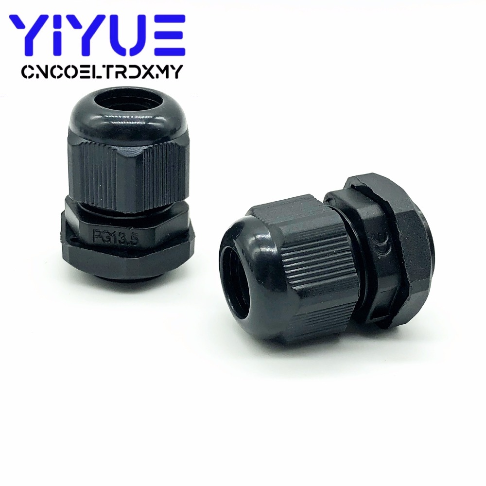 5pcslot IP68 PG7 for 3-6.5mm PG9 PG11 PG13.5 PG16 PG19 Wire Cable CE White Black Waterproof Nylon Plastic Cable Gland Connector (5)