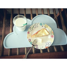 Silicone Placemat FDA Bar Mat Baby Kids Cloud Shaped Plate Mat Kids Waterproof Table Mat Set Home Kitchen Pads(China)