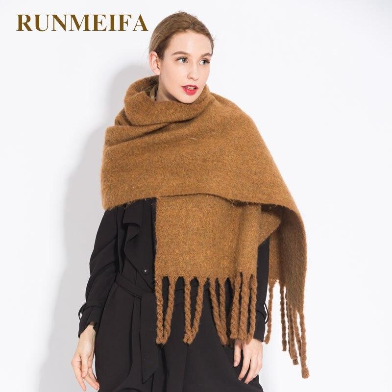 RUNMEIFA mujeres chal bufanda Otoño Invierno generoso sjaals la marca nueva moda acrílico café puro de color camel borla chal