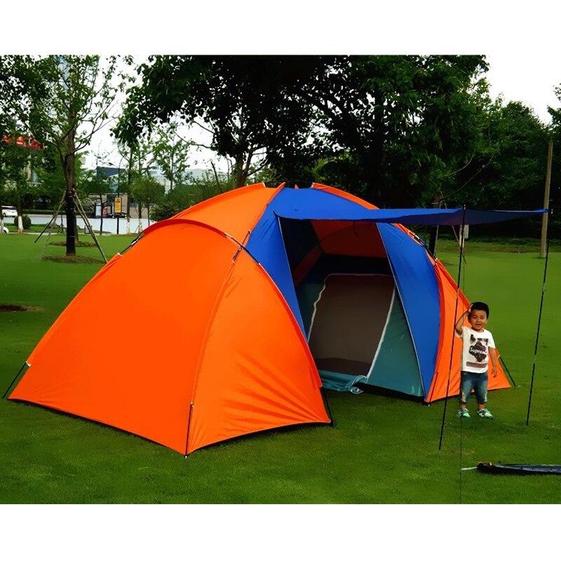 Большая походная палатка для 5 8 человек, водонепроницаемая двухслойная палатка для путешествий с двумя спальнями, семейные вечерние палатки для путешествий, рыбалки, 420x220x175 см