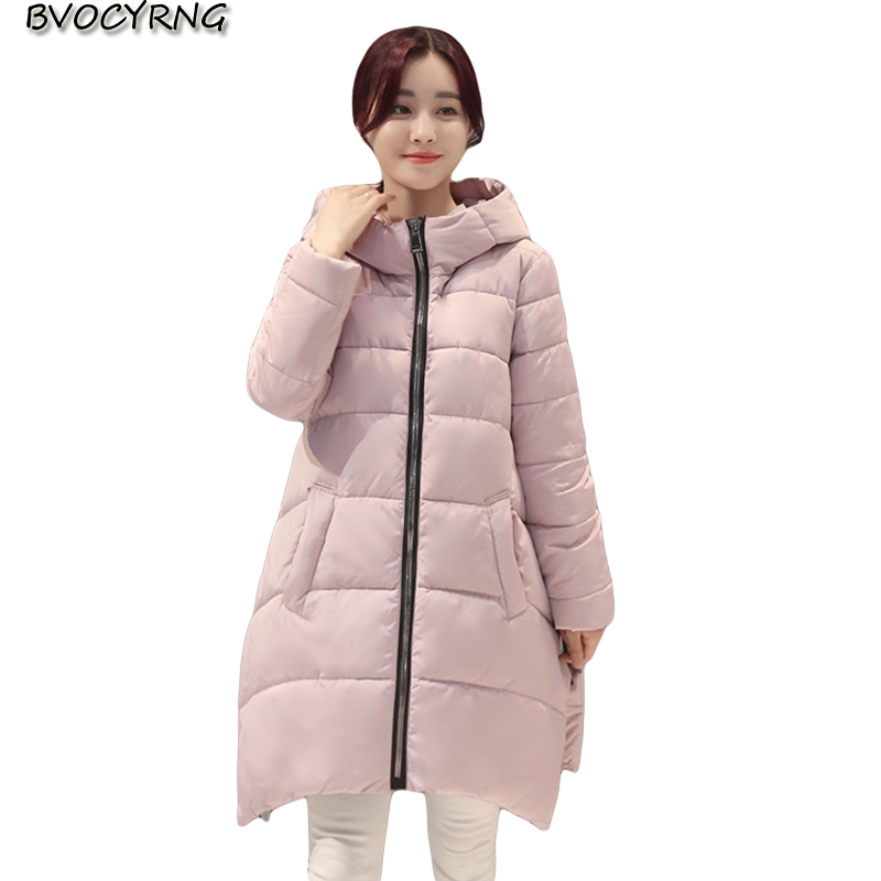 2017 New Hot High Quality Feather Cotton Winter Coat Female Medium Style Han Edition Loose Hooded Parka Warm Outerwear Q791 hot style three points children quilted loose coat