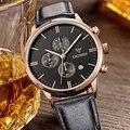 CADISEN watches men luxury brand Quartz watch waterproof genuine leather strap gold Chronograph Wristwatches Leisure watches