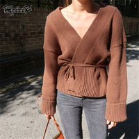 HziriP Autumn Women Knitted Vintage Short Sweaters Sexy Cardigans Sashes V Neck Long Sleeve All Match 2 Colors Female Sweater