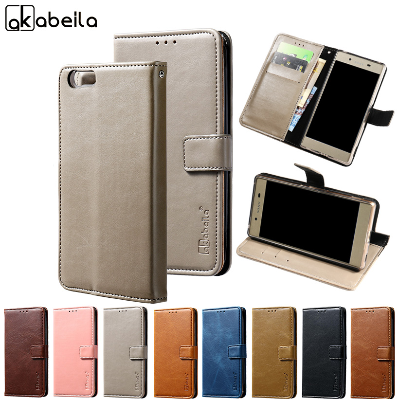 AKABEILA Luxury Flip Cases For Elephone M2 Case 5.5 inch Wallet PU Leather Covers Coque For Elephone M2 Cover with Card Hold
