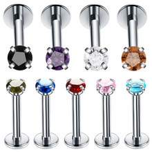 9pcs/lot Steel Prong Set Round Zircon Labret Monroe Lip Rings Colorful Ear Cartilage Tragus Earring Helix Piercing Sexy Jewelry(China)