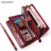 SENDEFN Large Capacity Split Leather Card Bag Quality Wallet Long Women Wallet Zipper Clutch Casual Zipper Retro Purse 5186G 65