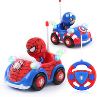 Captain America Light Music RC Car Toy Spiderman Remote Control Electric Toys Automatic Play Car Toy Boy Girl Gift