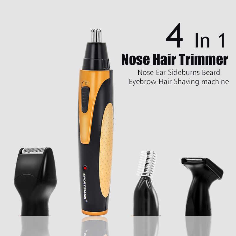 4 1 Şarj Edilebilir Elektrikli Burun Saç Düzeltici Kaldırma Clipper Tıraş Makinesi Sakal Kaş Düzeltici Erkek Burun saç kesici