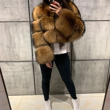 Abrigo de piel de mapache para mujer, abrigo de piel natural de mapache de manga larga