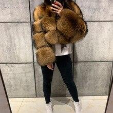 Cappotto di pelliccia di procione donna reale cappotto di pelliccia naturale cappotto di pelliccia di procione manica lunga