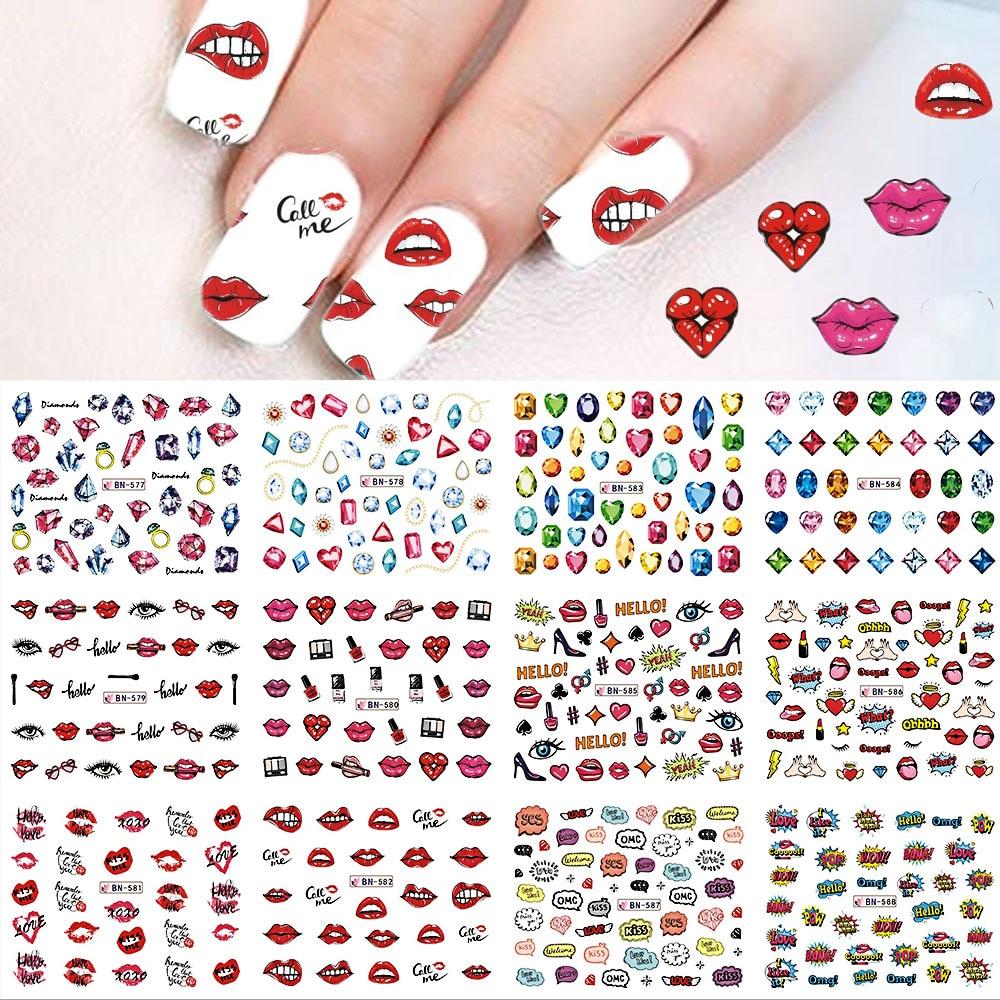 48pcs Nail Art Stickers Flower/Newspaper/Lips Mixed Decals Water ...