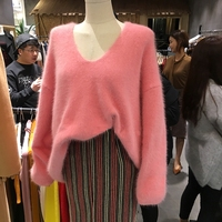 HAMALIEL Korean Women Loose Knitting Sweater Tops Autumn Winter Pink Mink Cashmere Warm Soft Pullovers Casual V Neck Jumpers