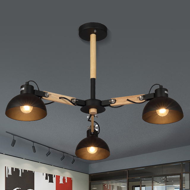 3 Heads Modern Black Metal Shade Suspension Lamp Creative Wooden Chandelier  Lamps Lights Living Room Restaurant