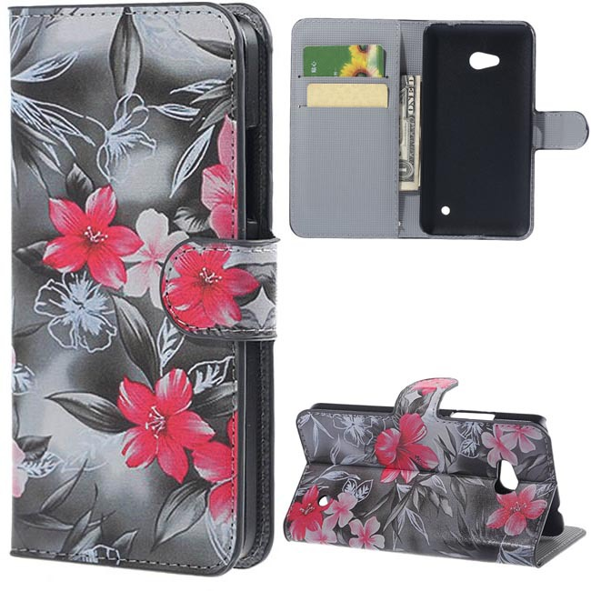 Red Flowers PU Leather Wallet Stand With Flip Case Cover Fors