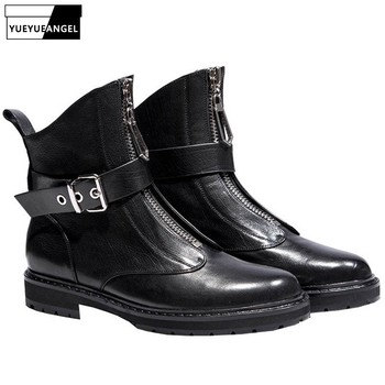 Ladies Shoes Sexy Buckle Strap Ankle Boots Genuine Leather Winter Fashion Black Front Zip Brand Luxury Block Heel Boots Woman