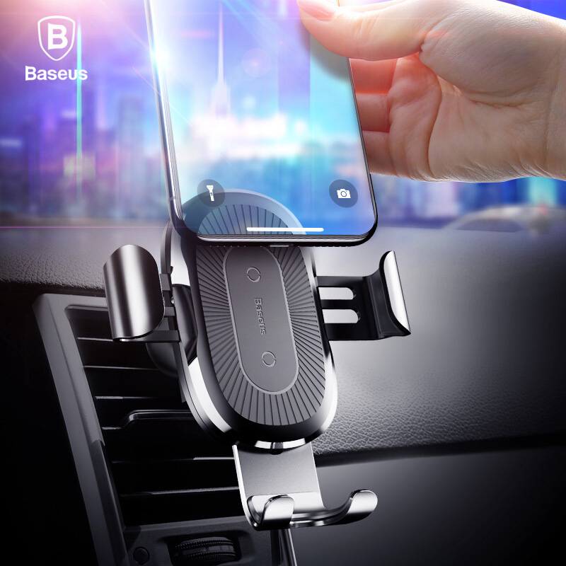 Baseus 10W QI Wireless Charger Car Holder For iPhone X 8 Samsung S9 Plus Fast Wireless Car Charging Charger Mobile Phone Holder