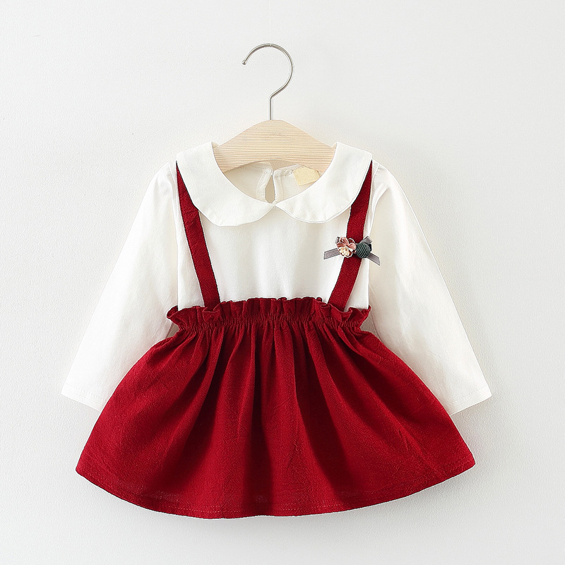 Детское платье-рубашка для девочек на осень платья в стиле принцессы с длинными рукавами детская одежда оптом 0-3 лет Q052