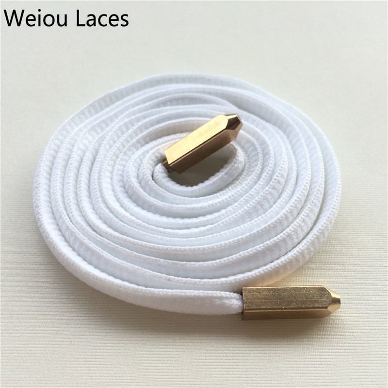 Weiou New Fashion Oval Shoelaces Polyester Shoe Laces With Matt Gold Screw On Metal Aglets For Boost 350 750 Sneakers Shoestring