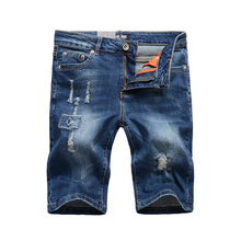 Summer Streetwear Men Short Jeans Blue Color Elastic Cotton Denim Shorts homme Fashion Ripped Jeans Hip Hop Destroyed Shorts Men men s destroyed ripped jeans shorts slim fit badge distressed short pants high street hip hop denim shorts man fashion clothes