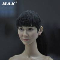1:6 Scale Asian Female Head Figure Black Hair Doll Headplay 1:6 Action Figure Head Carved Model for 12 Inches Body Figure