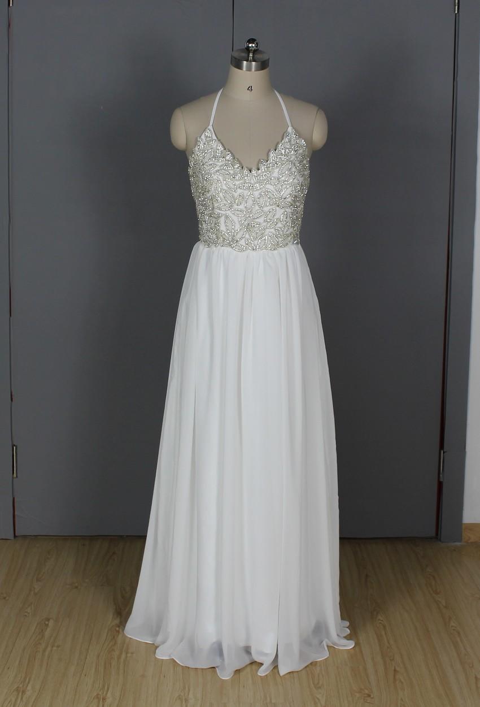 New Modern White Halter Long Burgundy Prom Dress 2016 Chiffon Beads vestidos de noche ballkleider gala jurken galajurken Dresses